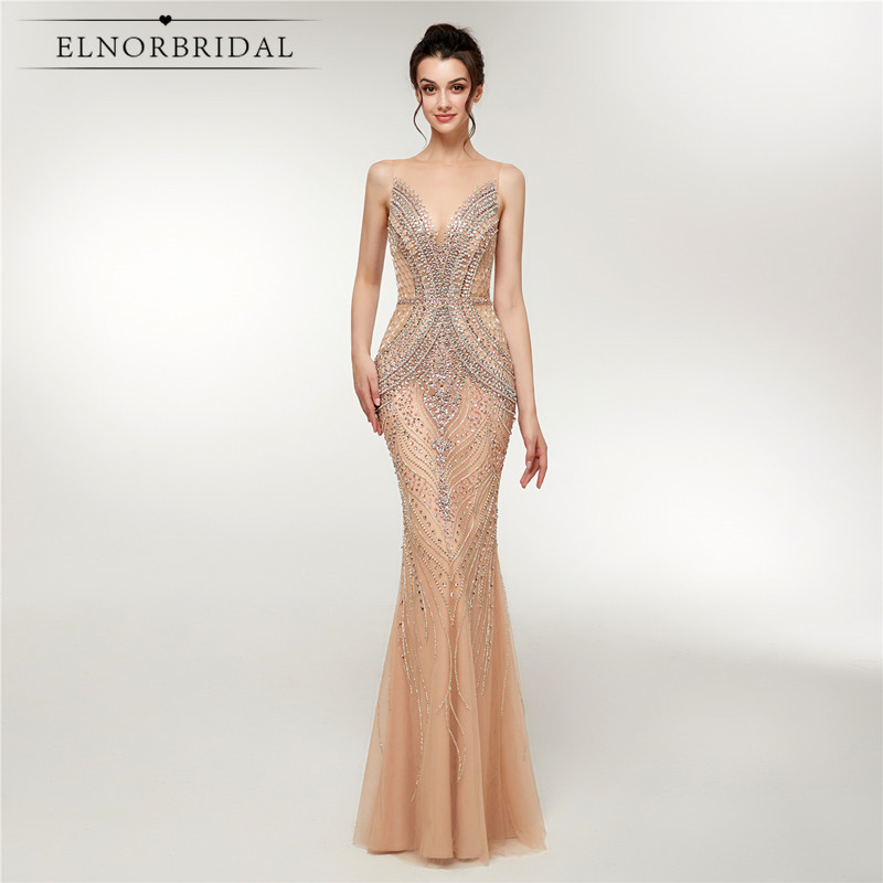 Champagne Mermaid   Evening     Dresses   2019 Robe De Mariee Real Photos Luxury Illusion Back Formal   Dress   Beaded Crystal Dinner Gowns