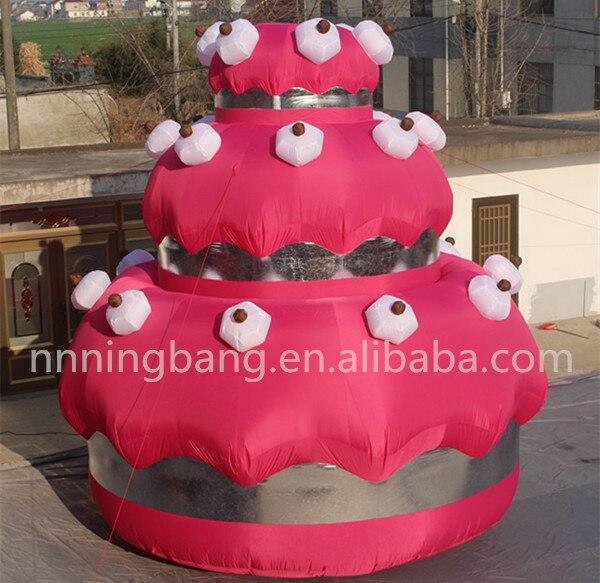 Gratis verzending giant 5 m hoge opblaasbare taart voor verjaardagsfeestje decoratie