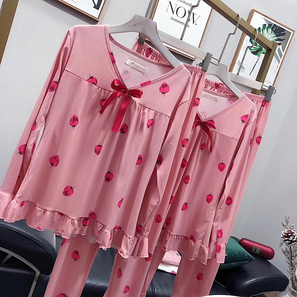 Pyjamas Set 2 Stück Homewear Nachtwäsche Sommer Frauen Pyjamas Große Größe Friut Drucken Fleck Baumwolle Regelmäßige ärmeln Erdbeere Niedriger Preis Damen-nachtwäsche Pyjama-garnituren