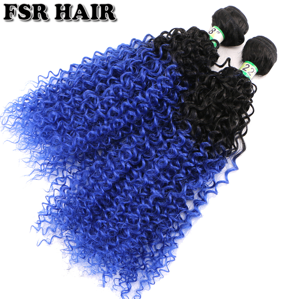 Black To Blue Two Tone Ombre Kinky Curly Hair Weave 100g/piece Synthetic Hair Extensions