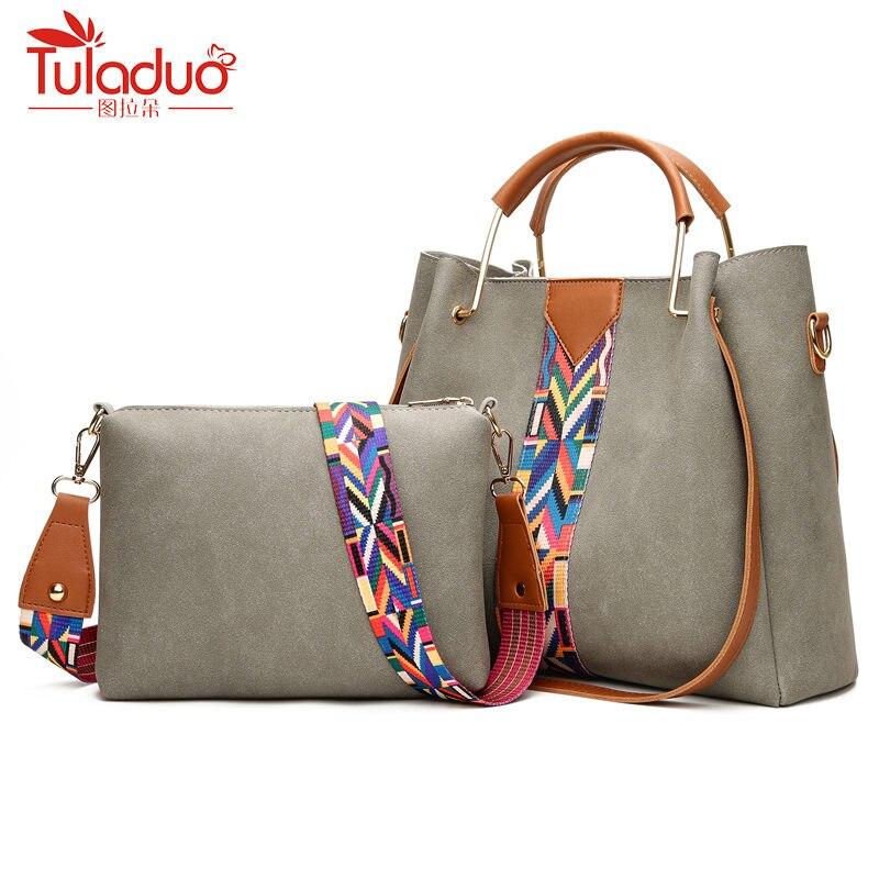 цена на 2pc Brand Fashion Colorful Strap Women Bag Luxury Ladies Hand Bags High Quality PU Leather Crossbody Bags Women Handbags Sac