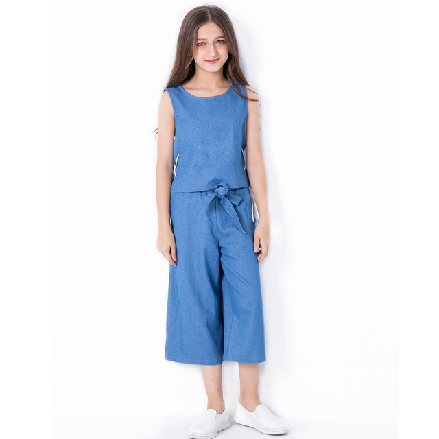 9e01b901ad7 Summer Clothes for Kids Girl 10 12 14 years Denim Tops Pants Two-piece  Teenage Girls Clothing