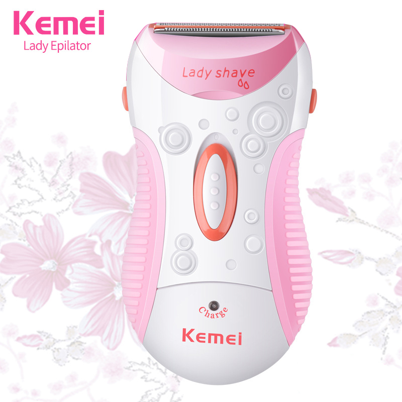 KEMEI Lady Rechargeable Electric Epilator Portable Hair Removal Machine Wireless Wet/Dry Women Shaver Full Body Skin Use KM-1187 ckeyin 2in1 wet dry epilator women shaver depiladora mini hair removal electric nose ear trimmer bikini underarm painless shaver
