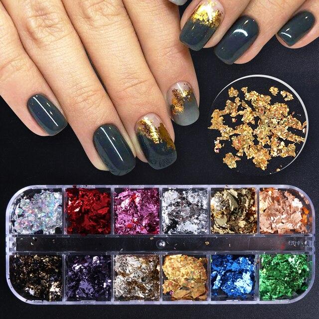 1 caja de brillo de uñas lámina de oro Irregular de platino copos láser cromado camaleón pigmento en polvo decoración de uñas LA950