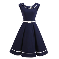 Retro 60s 70s Navy Blue Swing Dress With Belt Vintage Sassy Sailor Girl Rockabilly Cocktail Party
