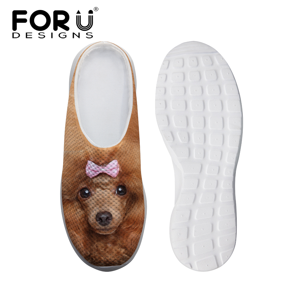 FORUDESIGNS Fashion 3D Animals Printed Women Mesh Sandals Breathable Female Slip-on Slippers Summer Beach Water Shoes