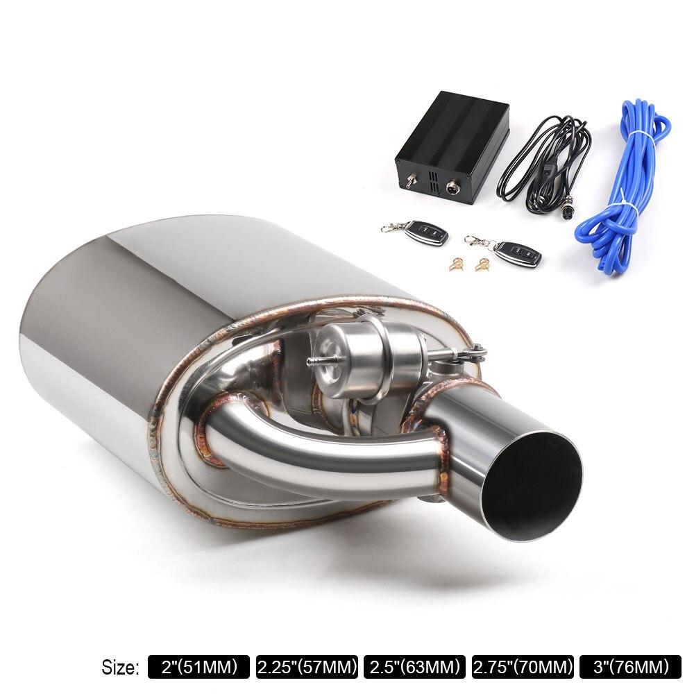 Silencieux d'échappement avec soupape de décharge en acier inoxydable coupe d'échappement électrique télécommande taille de l'ensemble: 2