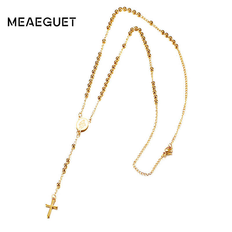 Meaeguet Stainless Steel Chain Cross Pendant Necklace Rosary Link Bead Chain Jesus Christ Pendant For Women Jewelry