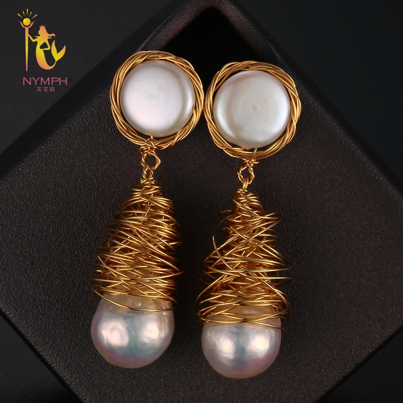 [NYMPH] Pearl Drop Earrings Fine Jewelry Long Baroque Pearl Earrings For Women 2018 Fashion Birthday Party Gift Big Bulb E309 [zhixi] freshwater pearl earrings for women fine jewelry big pearl earrings gold drop irregular fashion gift for party eb224