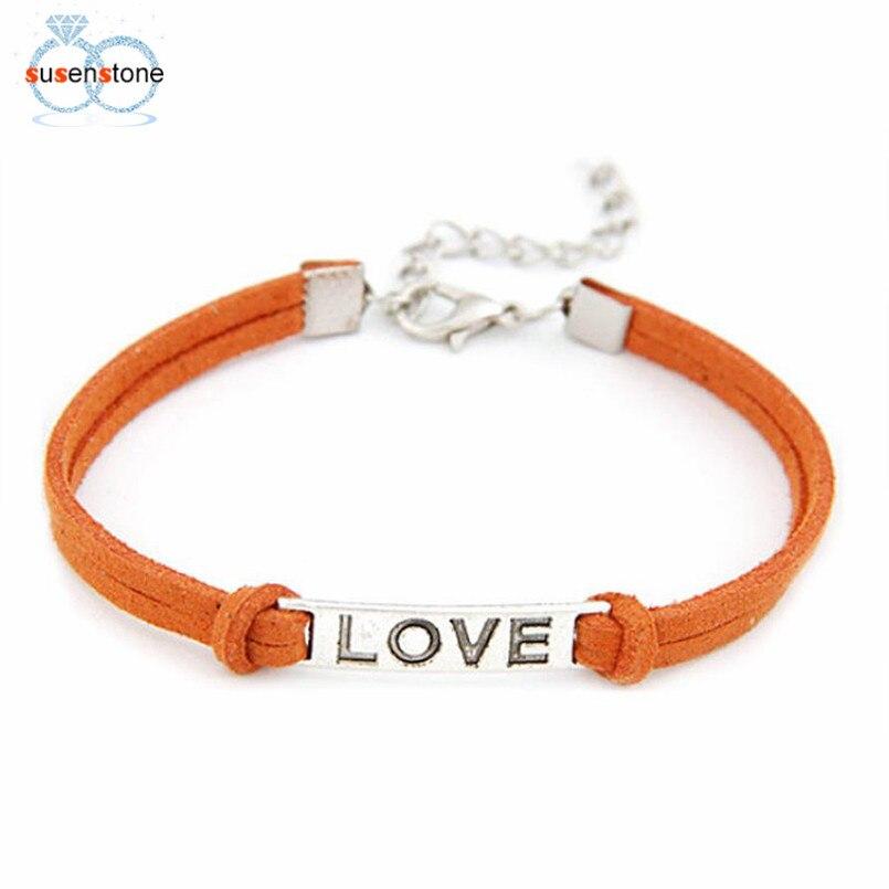 SUSENSTONE Braided Adjustable Leather Popular Bracelet Women Men Love Handmade Alloy Rope Charm Jewelry Weave Bracelet Gift #0 3