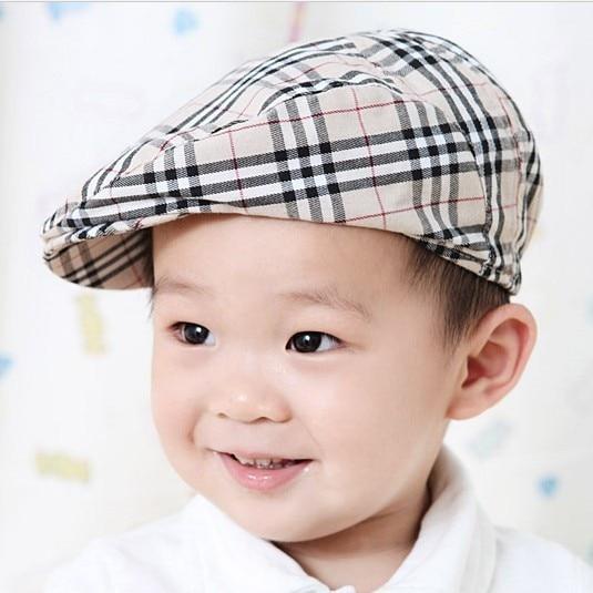 children baseball cap hats baby boy girl beret caps plaid casual