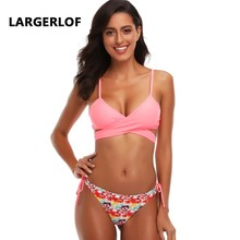 Струнный бикини Купальник Push Up Split Swimsuit Bandage Pink Swimwear Women Plus Размер BK45019