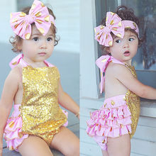 Baby Girl Clothing Boodysuit Gold Sequins Ruffles Headband Jumpsuit Outfits Backless Bodysuit Sunsuit 0-24M