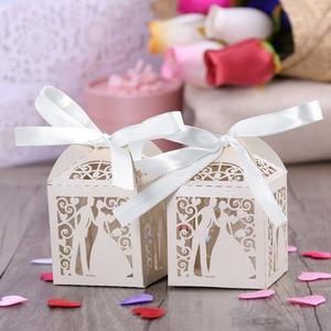 Image 5 - Cajas de Regalo para dulces de boda de corte láser de lujo, diseño de pareja, con cintas decorativas para mesa, color blanco, 100 Uds.