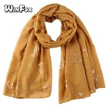 Winfox Soft Foil Gold Scarves Shawl For Women Yellow Shiny Glitter Scarf Female
