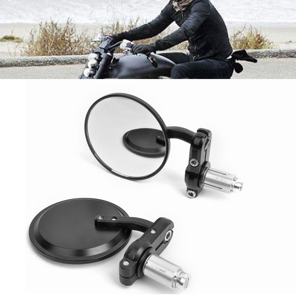 7/8 Handlebar End Mirrors CNC Motorcycle Rearview Side Mirror Cafe Racer Clubman Sportster Chopper
