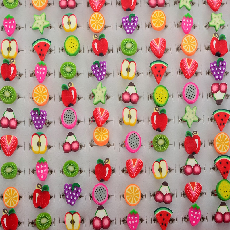 Wholesale Mix 50pcs Polymer Clay Kids Fruit Shape Rings for Women Fashion Jewelry Colorful Lovely Design Ring For Children Girls ...