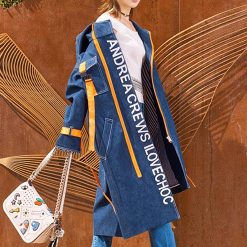 Spring autumn Fashion Korean Style Clothes Ladies Hooded Windbreaker Womens Denim   Trench   fashion women Long Coat