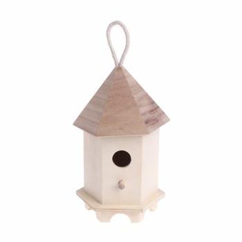 Wooden Bird Feeder Outdoor Feeding Garden Decoration Hexagon Nest House Box Birds Feeders Supplies C42 Кормушка