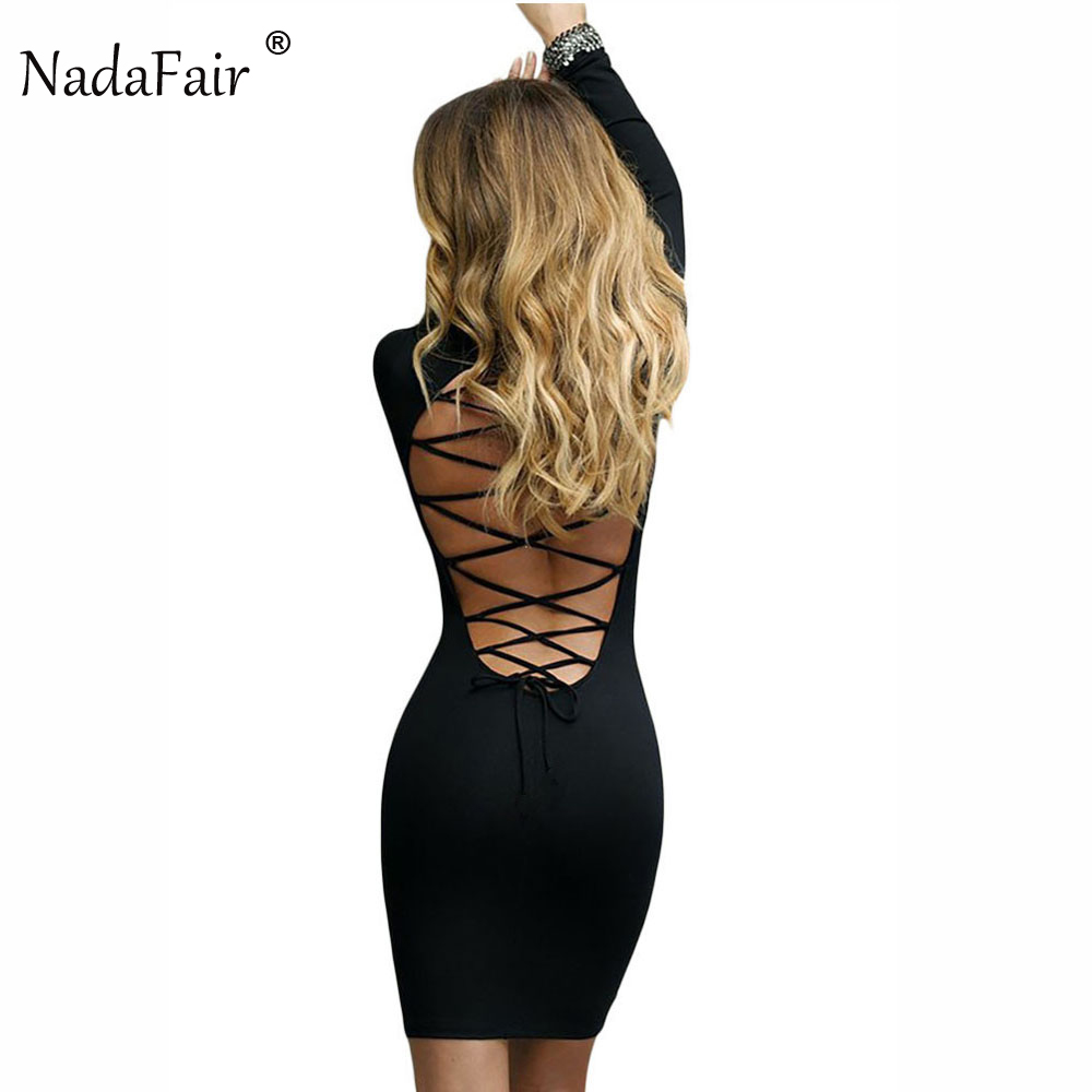 Nadafair met lange mouwen stretchy sexy club bandage bodycon jurk 2018 vrouwen zwart rood lace-up backless jurken
