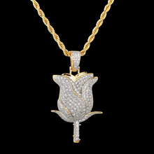 Iced Out Cubic Copper Hip Hop Zircon Bling Flower Petals Necklace & Pendant With Chain For Men Jewelry Dropshipping xukim jewelry silver gold color cubic zirconia iced out paw dog cat claw pendant necklace hip hop jewelry