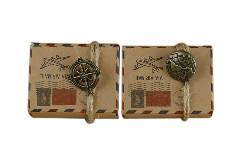 100pcs/lot Vintage Kraft Paper Candy Box Airplane Air Mail Travel Theme Wedding Favors Gifts Boxes with Burlap Twine Party Decor