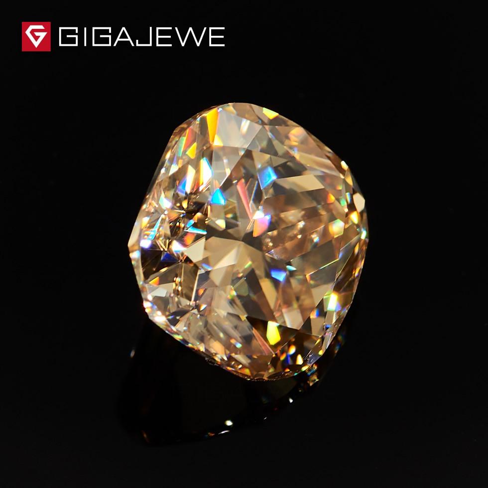 GIGAJEWE Moissanite poduszka Cut złoty VVS1 9X9mm 3.5ct luźny kamień laboratorium diament klejnot piękna biżuteria Making kobiety dziewczyna prezent w Koraliki od Biżuteria i akcesoria na  Grupa 2