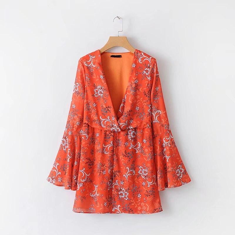 QPFJQD Spring Summer Orange Flare Sleeve Mini Dress Beach Vestidos Mujer 2018 Sexy Deep V Neck Pleated Casual Floral Dresses