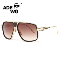18K Gold Plated Square Men Sunglasses Women Couple Flat Top Luxury Brand Design Ladies Sunglasses Shades