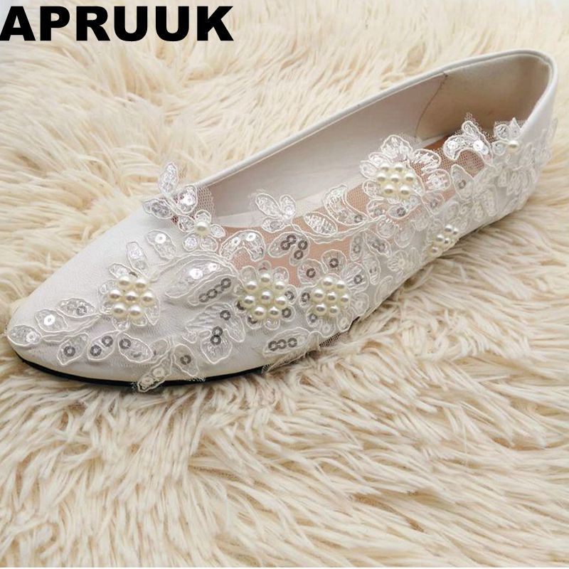 Flat heel sexy silver sequins lace flats wedding shoes woman ivory pearls plus size women's white round toes spring bridal shoes extra large plus sizes 41 42 43 flats wedding lace shoes womens female woman bridal flat heel wedding flats shoes large sizes