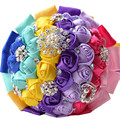 Luxury sweet romantic colorful rainbow flower artificial wedding flowers bridal bouquet with brooch crystal bridesmaids bouquets
