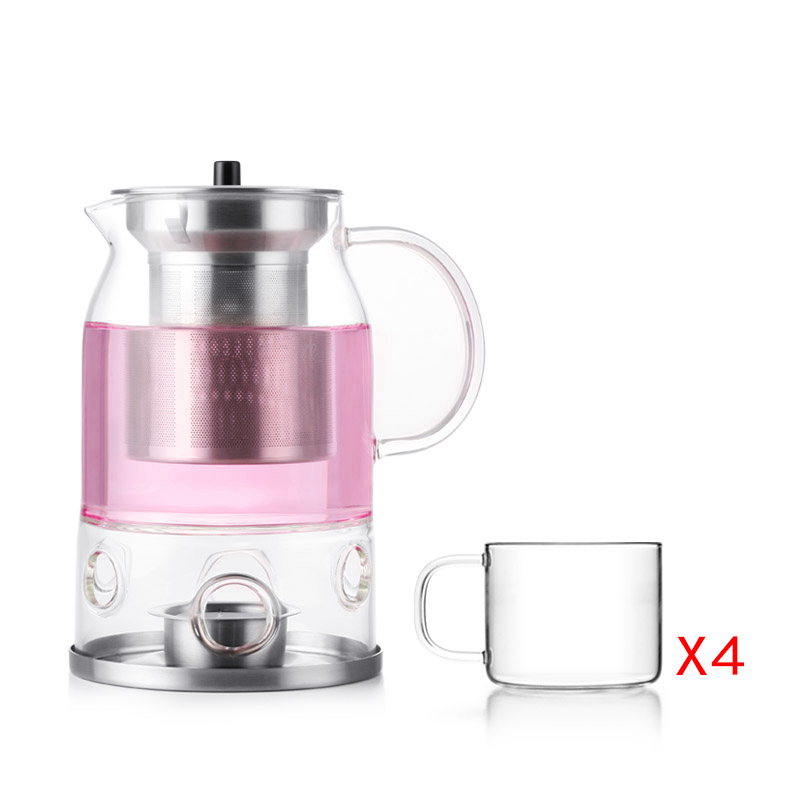 Modern Design Teapot with Infuser Candle Warmer 600 ml Plus 4 Pieces Tea Cups Complimentry Candle