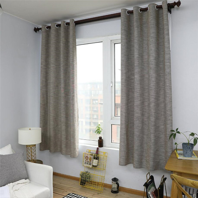 Linen Grey Nordic Style Linen Cotton Blackout Curtains For Living