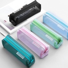 School Mesh Pencil Cases Kawaii Cute Solid Color Transparent Box Student Pen Bag Supplies Lapis Stationery