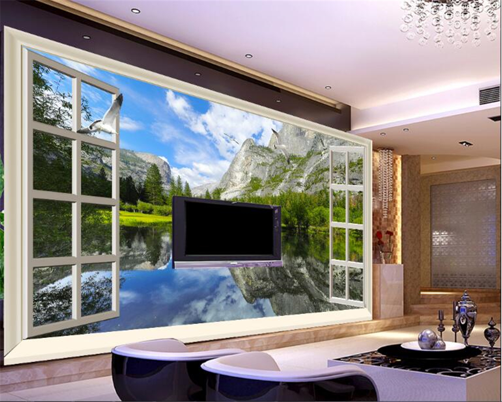 beibehang Lakes and mountains outside the landscape mood aesthetic 3D 3D landscape wall fashion wallpaper papel de parede behang