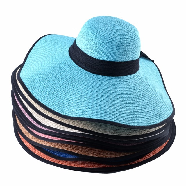 Fashion Straw Hat For Women Summer Casual Wide Brim Sun Cap With Bow-knot Ladies Vacation Beach Hats Big Visor Floppy Chapeau 5