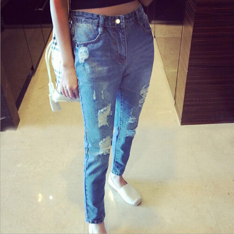 Fashion Women Casual High waist Ripped hole Denim Pants Distressed Jeans Trousers 2018 summer hot sale
