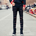 2017 New Slim Fit Men's Jeans High Street Fashion Embroidery Patterns Denim Pant Male Punk Hiphop Denim Trousers