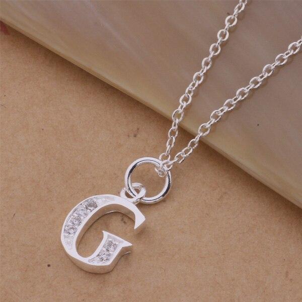 537c8e4fba095 AN213 Hot prata banhado Colares para as mulheres   homens pingente de prata  925 jóias da moda jóias letra G axvajpca aouajgba