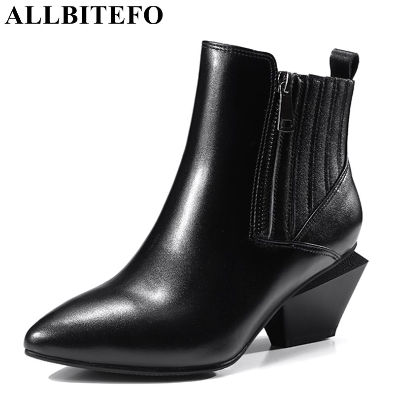 ALLBITEFO new fashion genuine leather pointed toe thick heel women boots medium heel ankle boots girls boots botas femininas  allbitefo genuine leather pointed toe thick heel women boots fashion buckle medium heel martin boots ankle boots for woman