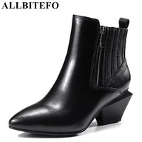 ALLBITEFO New Fashion Genuine Leather Pointed Toe Thick Heel Women Boots Medium Heel Ankle Boots Girls