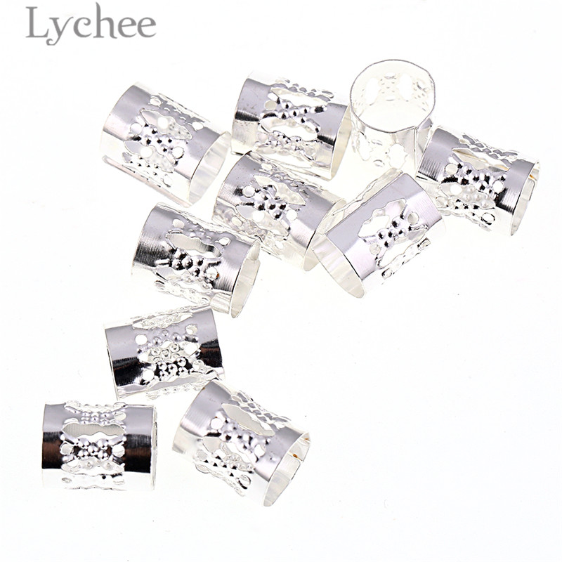 Lychee 10pcs/Lot Hiphop Aluminium Hollow Hair Braid Dreadlock Beads Gold Color Silver Color Adjustable Tubes Headwear Jewelry