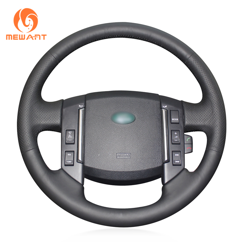 MEWANT Black Artificial Leather Car Steering Wheel Cover for Land Rover Freelander 2 2007 2012