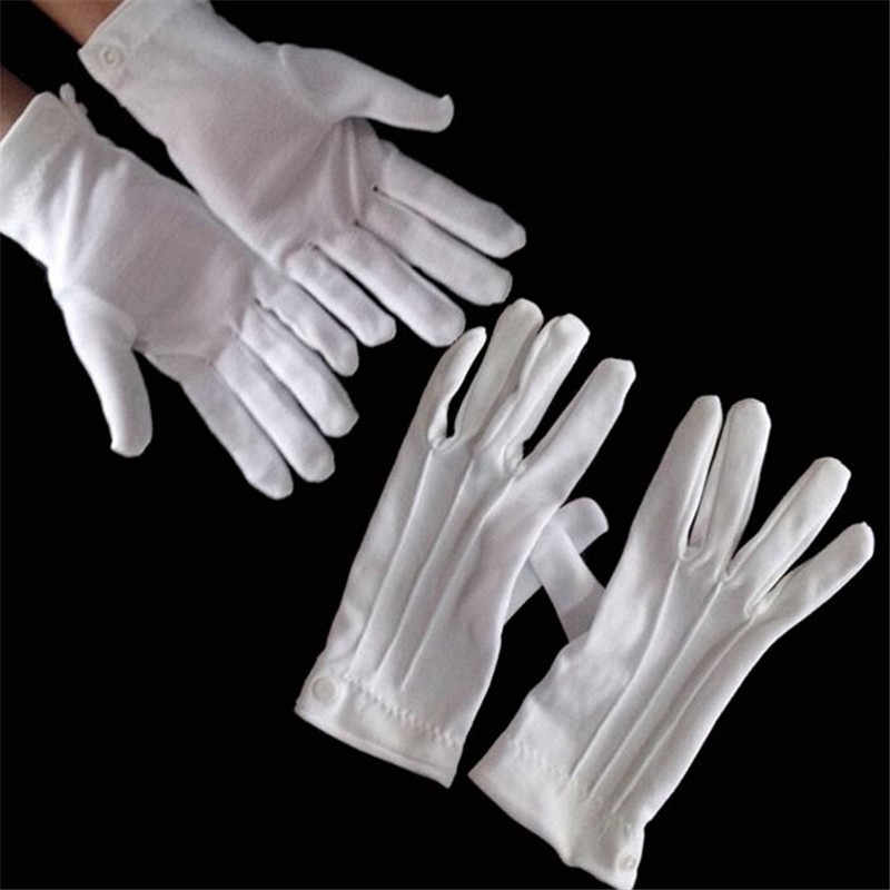 White Cotton Gloves Formal Work Uniform Catering uniforms Magician Parades Inspection Five-fingers men's work gloves1pair=2piece