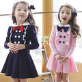 England Style Girls long sleeve bow tie princess children's clothes girls dress autumn new cravat dress for kids College Dress