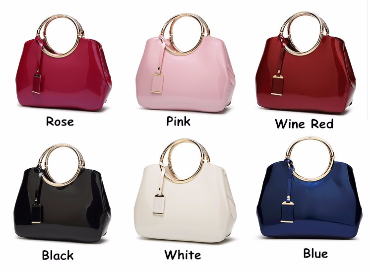 Promotion of new women's bags,Patent Leather Women Bag Ladies Cross Body Shoulder Bags Handbags Blue one size 24