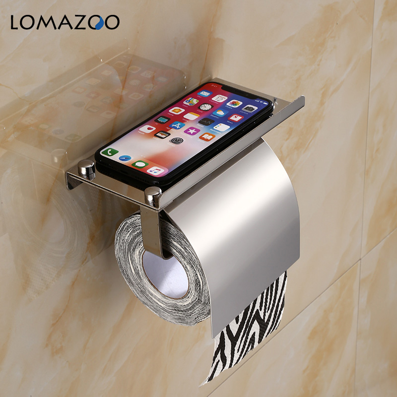 Concise Wall Mount Toilet Paper Holder Bathroom 4 Color Fixture Stainless Steel Roll Paper Holders with