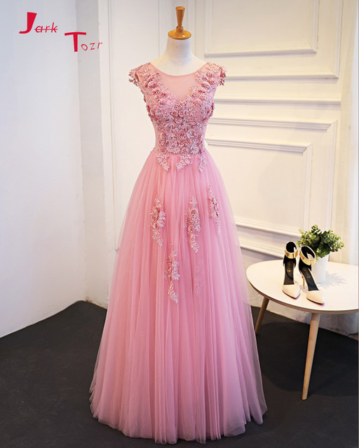 Jark Tozr 2019 New Special Lace Up Pink Formal Dresses Vestido De Festa Beading Appliques Flowers Prom Gowns China Shop Online