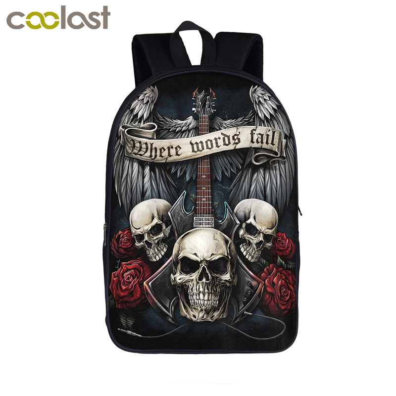 Rock Punk Skull Guitar Rose Backpack Heavy Metal Street Rock Backpack Men Women Punk Daily Backpacks For Teenage School Bags недорго, оригинальная цена