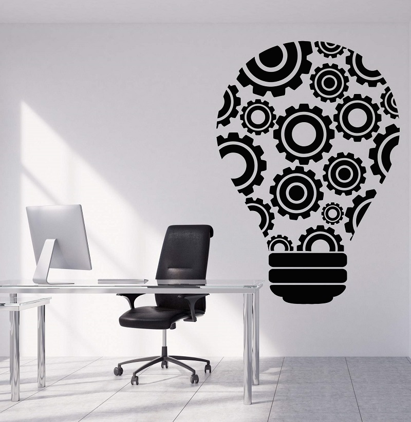 Vinyl wall decal bulb idea teamwork gear office decoration sticker office quote workstation inspirational wallpaper 2BG23-in Wall Stickers from Home & Garden